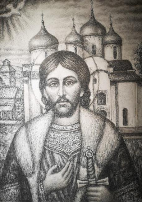 Князь Александр Невский /Картон, уголь, 60Х80, 2018 г./